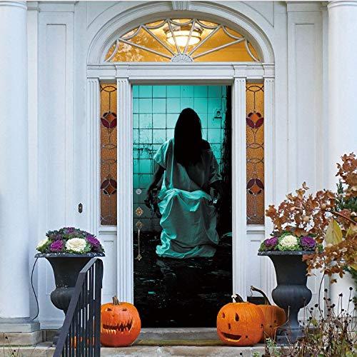GBICjdojf Hot Halloween Haunted House Decor Window Door Cover Sticker Zombie Hand Inches Door Sticker Home Family 78X30