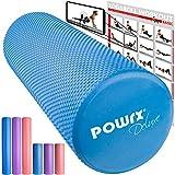 POWRX - Rullo Pilates in Schiuma Eva per Massaggio Muscolare, Trigger Point & Riabilitazione | Ottimo per Pilates, Yoga e Ginnastica | Taglia e Colore a Scelta + PDF Workout (Blu)