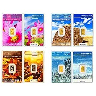 4 Stück je 1g Gold Argor Heraeus Goldbarren 1 Gramm 9999 mit Zertifikat für Sammler Frühling, Sommer, Herbst & Winter