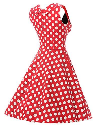 Dresstells, Version2.0 Vintage 1950's Audrey Hepburn robe de soirée cocktail, bal style années 50 Rockabilly Swing Rouge-Blanc