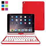 Snugg [Red] Wireless Bluetooth Keyboard Case Cover [Lifetime Guarantee] 360° degree Rotatable Keyboard