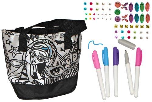 alles-meine.de GmbH Bastelset zum Bemalen - Umhängetasche / Schultertasche - Monster High - abwischbar groß - Kindertasche Tasche Stoff Mädchen Tragetasche - Malset