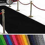 etm Hochwertiger Messeteppich Meterware | Rollteppich VIP Eventteppich, Hollywood Läufer, Hochzeitsteppich | 18 Farben in 23 Größen | Schwarz - 200x800 cm