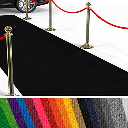 etm Hochwertiger Messeteppich Meterware | Rollteppich VIP Eventteppich, Hollywood Läufer, Hochzeitsteppich | 18 Farben in 23 Größen | Schwarz - 200x300 cm (Filzteppich)