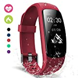 moreFit Slim Touch Wasserdicht Fitness Tracker Mit Herzfrequenz,Smart Fitness Armbanduhr Pulsuhr Schrittzähler,Schwimmen Activity Tracker GPS Für Damen/Herren,Rot