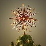 Valery Madelyn 27.5cm Luxuriös Rot und Gold Weihnachtsbaumspitze, beleuchtete Metall Baumspitze Stern mit 10 warmen gelben LED Beleuchtungen, Batteriebetrieben,Themen mit Baumrock (nicht inkl.)