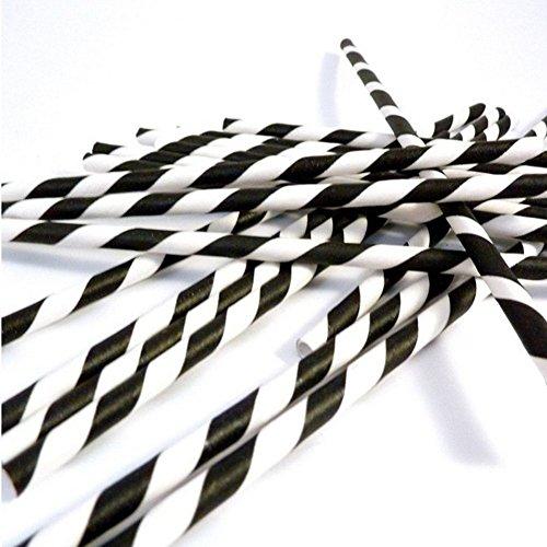 inken Strohhalme Papier Strohhalm gestreifte Trinkhalme (Schwarz und Weiß) (Weiße Trinkhalme)