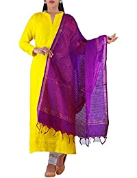 Unnati Silks Women Pink Weaving Mangalagiri Cotton Dupatta With Zari Woven Stripes From The Weavers Of Andhra...