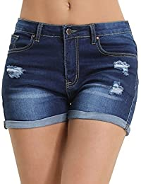 Hocaies Damen Jeansshorts Basic in Aged-Waschung Jeans Bermuda-Shorts Kurze Hosen aus Denim für Den Damen Sommer High Waist Denim Kurze Hose mit Quaste Ripped Loch Hotpants Shorts