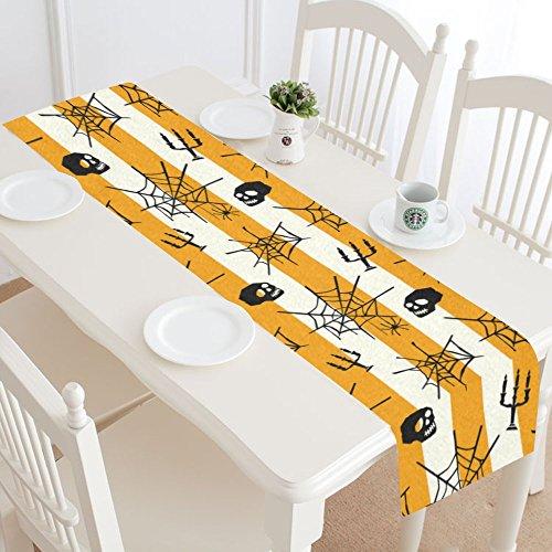 interestprint Halloween Totenkopf Kopf mit Spider Web Polyester Tischläufer Tisch-Sets 40,6x 182,9cm, orange und weiß Streifen Tischdecke für Büro Küche Esszimmer Hochzeit Party Homedecor