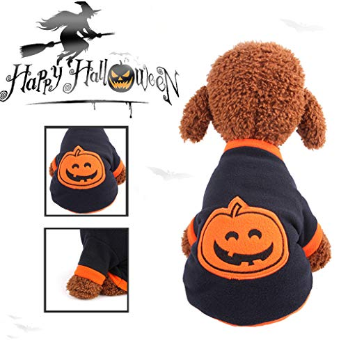 Dkings Pet Dog Shirt Print Polar Welpen Mantel Haustiere Katze warm Kapuzen Kleidung - Extra Große Hunde Kürbis Kostüm