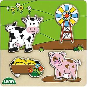 Lena 32154 - Puzzle de Madera de Sauce, para niños a Partir de 18 Meses, Puzzle de Madera 100% FSC, Puzzle de 4 Piezas con Base de 14 x 18 cm, Piezas de Puzzle por Separado