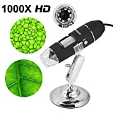 Microscopio endoscopio usb digital 1000x portatil con PC Video mini cámara 8 LED y metal soporte