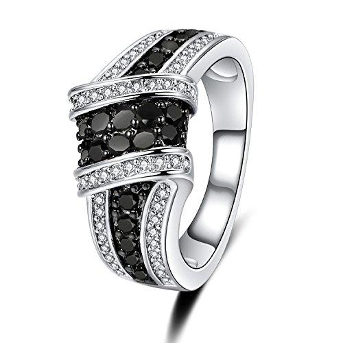 Uloveido Lady Schwarz Gun plattiert Unendlichkeitsknoten Criss Cross Ring für Frauen Hochzeit mit schwarzen CZ Stones Y423 - Criss Cross Ring Frauen