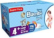 Sanita Bambi, Size 4+, Large+, 10-18 kg, Super Box, 116 Diapers