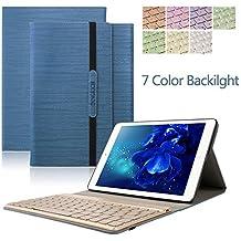 iPad 2 iPad 3 iPad 4 Teclado Funda, Dingrich Bluetooth inalámbrico QWERTY Teclado Case Pare iPad 2 3 4 ultra delgado Imán de retroiluminación desmontable de 7 colores para soporte Triple Fold Funda de cuero de alta calidad, funda de teclado para iPad 2 iPad 3 + iPad 4 + Protector de pantalla HD + pluma estilográfica, iPad 2 3 4 Funda de teclado