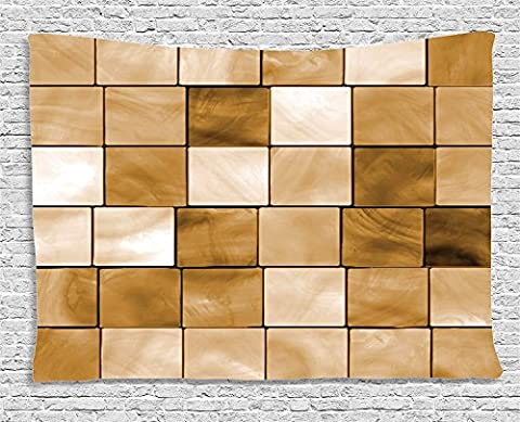 Beige Decor Collection, Faded Tiles Wood Cubes Squares Geometric Inspired Modern Simple Urban Boho Chic Art Decorative , Bedroom Living Room Dorm Wall Hanging Tapestry, 80W X 60L Inch, Brown