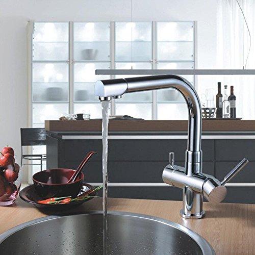 CZOOR Hochwertige Alle Messing Schwarz Chrom poliert Drehbare 3 Way warm und kalt Küchenspüle Mischerhahn 2 Löcher Wasser abhör trinken, Multi -