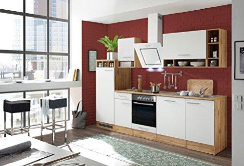 Küchenzeile Küche Küchenblock Einbauküche Komplettküche 280 Cm Wildeiche  Weiß Inkl. Geräte Respekta