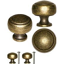 fuxxer – 2 x Tiradores Botones | rústico vintage diseño Bronce Latón Muebles Cocina Buffet,