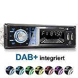 XOMAX XM-RD267 Autoradio con DAB+ sintonizzatore e antenna integrati I Bluetooth I Ricaricare il cellulare tramite 2. USB I RDS, 2x USB, SD, MP3, AUX-IN I 7 colori regolabili I 1 DIN