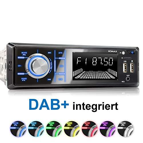 XOMAX XM-RD267 Autoradio mit DAB+ Tuner und Antenne I Handy Aufladen über 2. USB Anschluss I Bluetooth Freisprecheinrichtung I RDS I 2X USB, SD, AUX I 1 DIN