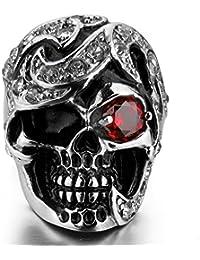 MunkiMix Acero Inoxidable Anillo Ring Cz Cubic Zirconia Circonita El Tono De Plata Negro Rojo Cráneo Calavera Hombre