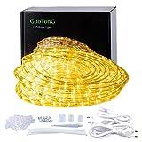 GuoTonG 52.5ft/16m PluginSeil Licht, 576 Warmes Licht LEDs, 220V, Mehrweg 2 Drähte, Wasserdicht, Anschließbar, Netzstecker Einbausicherung, Innen-/Außeneinsatz, Dekorative Beleuchtung