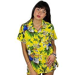 Funky Camisa Blusa Hawaiana, Manga Corta, Cherryparrot, Amarilla, L