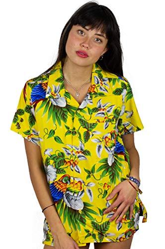 Funky Camisa Blusa Hawaiana, Manga Corta, Cherryparrot, Amarilla, XXL