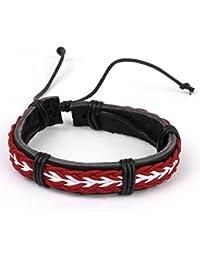Brazalete Pulsera Trenzado De Cuero - Blanco Rojo Estilo De Surfista Bracelet