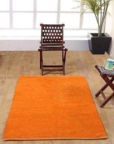 Homescapes waschbarer Chenille Teppich Vorleger 60 x 100 cm aus 100% reiner Baumwolle, Farbe: orange, pflegeleicht und