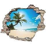 3D-Effekt Wandtattoo 'Palmenstrand' | Aufkleber | Durchbruch | selbstklebendes Wandbild | Wandsticker | Stein | Wanddurchbruch | Wandaufkleber | Tattoo, Größe:60x50 cm