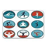 Tappetino per Porta d'ingresso Fitness, Icone circolari grafiche con Jogging Nuoto Tappezzeria per segni di Sport a Tema Decorativo per Tappetino da Bagno Interno o Esterno