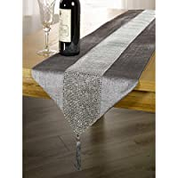 Panache Home Eclat Diamante Faux Velvet Table Runner, Silver, 13 x 72 Inch
