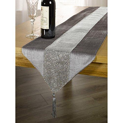 Tischläufer / Tischdecke mit Schmucksteinen in der Mitte und Quasten Abschluss (33 x 183 cm) (Silber)