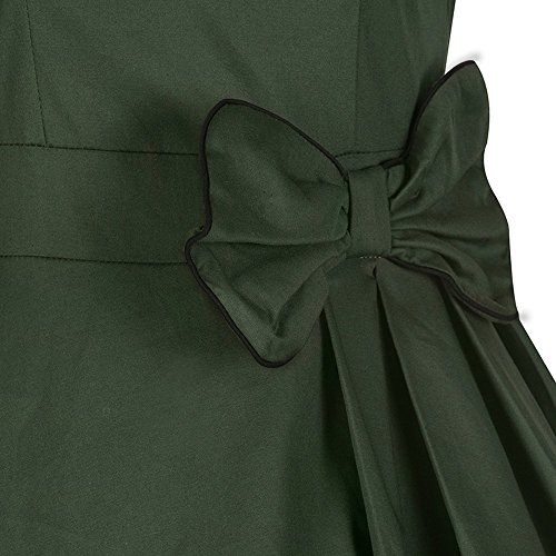 Dabag - Hepburn Style Rétro unicolore ou imprimé sans manches collet carré Robe de soirée Rockabilly grande Swing robe (L, Noir) Vert