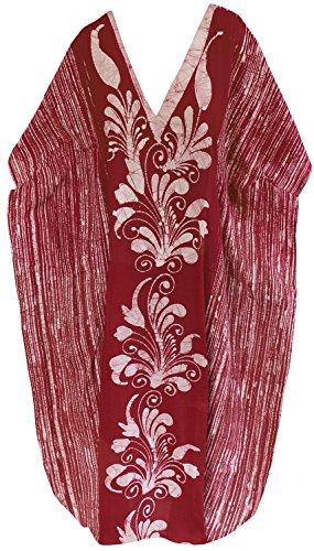 La Leela concepteur de coton batik main beachwear maillot de bain beachwear longue caftan robe maxi Rouge