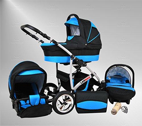 True Love Larmax Kinderwagen Safety-Winter-Set (Winterfußsack, Autositz & ISOFIX Basis, Regenschutz, Moskitonetz, Schwenkräder) 23 Cosmic Black & Aqua
