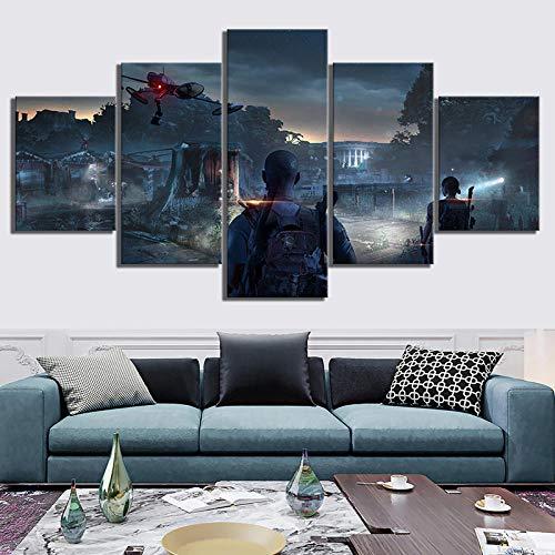 ADGUH 5StampasuTelainStampa su Tela Stampe Decorazioni per la casa 5 Pannelli The Division 2 Scene Tom Clancy's The Division Videogiochi Immagini per pareti Wall Art Po5QuadroDipinto