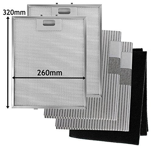 SPARES2GO Metallgitter, Carbon + Fettfilter für Dunstabzugshaube/Abzugshaube (320 x 260 mm, 5 Stück)