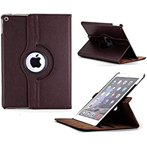 Caseous Synthetic Leather Rotate Flip Cover for Apple iPad Mini 1 2 3  Brown