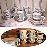 LS-LebenStil LS Design 12 tlg. Espressotassen Porzellan Mokkatassen Set Geschirr Kaffeeservice für 6 Personen
