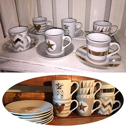LS-LebenStil LS Design 12 tlg. Espressotassen Porzellan Mokkatassen Set Geschirr Kaffeeservice für...