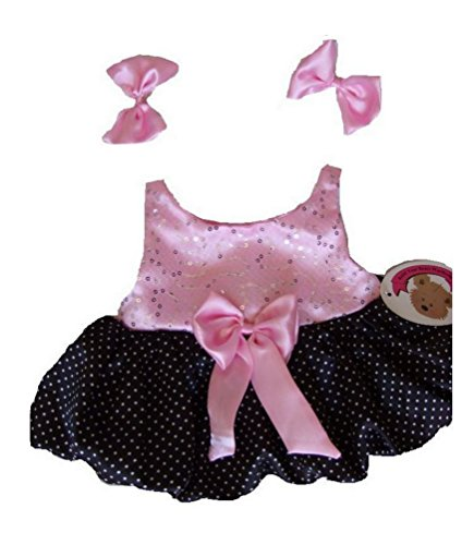 Teddy Bear Clothes Pink & Black Puff Ball Dress fits Build a Bear 15-16in Teddies by Build your Bears Wardrobe (Fit-puff)