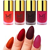 Mi Fashion Velvet Dull Matte Nail Polish, Orange, Tomato Red, Wine, Pink, 39.6ml (4 Pieces)