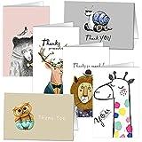 Cartes de remerciements - Ensemble de 36 cartes de remerciement pour animaux de KUMY avec enveloppes Kraft pour fête de Noël, cadeau de Noël, cadeau de Noël, blanc à l'intérieur