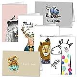 Danke-Karten - Set von 36 Tier Vielen Dank, dass Sie Grußkarten von KUMY mit Kraft Umschlägen für Baby Shower Thanksgiving Day Weihnachtsfeiertagsgruß, innen leer 4 x 6 Zoll