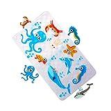 MYQIANG Badmat voor kinderen en baby's badmat schattig anti-slip badmat met zuignappen antibacterieel milieuvriendelijk PVC, 70 x 40 cm