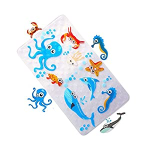 MYQIANG Bath Mat Non Slip for Baby Kids Anti Skid and Mould Resistant Shower Mat Toddler Safety Bathroom Bathtub mat with Suction Cups,Environmental PVC,Square,70 x 40 cm(Fish)